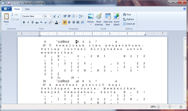 scrap in wordpad