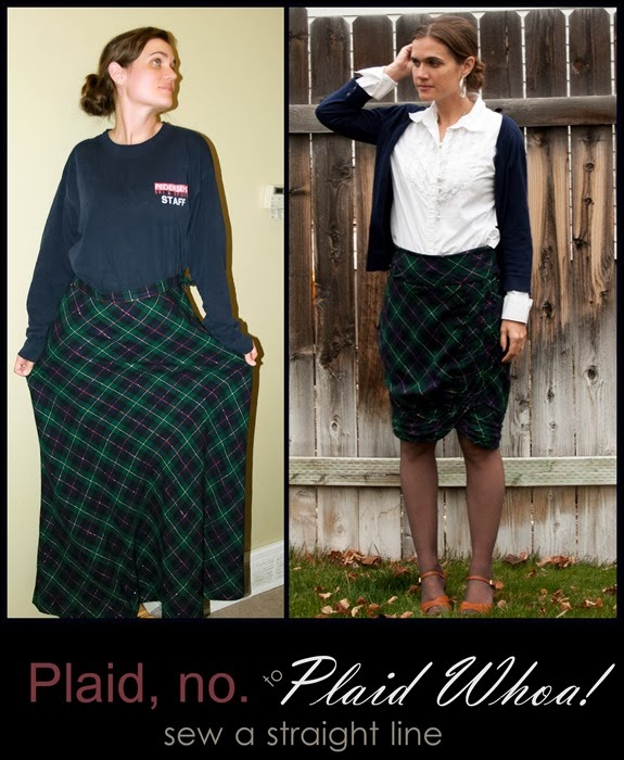 wool plaid skirt refashion before and after1