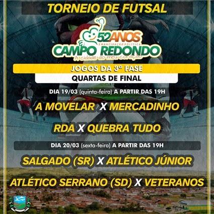 19.03 - Futsal - 52 anos Campo Redondo - VETERANOS - ATLETICO SERRANO - A MOVELAR - MERCADINHO - SALGADO - RDA - ATLETICO JR