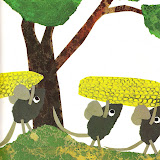 los ratoncitos empezaban a almacenar maíz y nueces y trigo y paja. Trabajaban todos noche y día. Todos menos uno, FREDERICK.