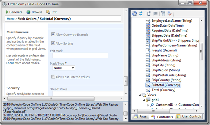Enable Query-by-Example and Sorting on 'Subtotal' field