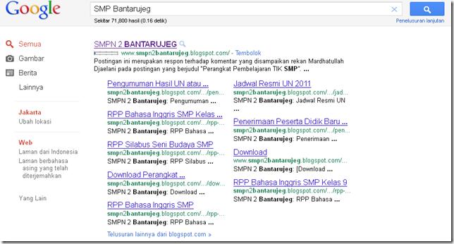 SMPN 2 Bantarujeg' s google sitelinks