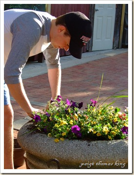 ryan planting flower pots