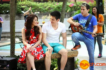 Jane Oineza and Jeron Teng with Yael Yuzon of Sponge Cola