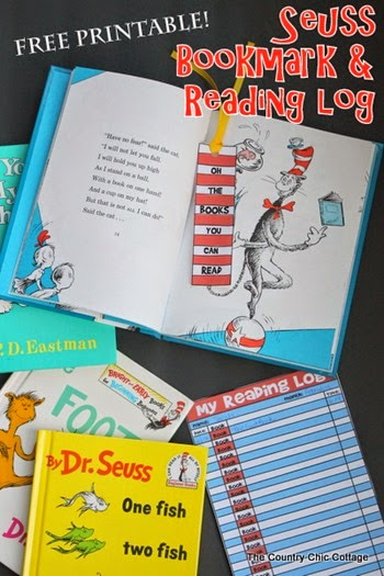 free printable seuss bookmark and reading log-003 Country Cottage Chic