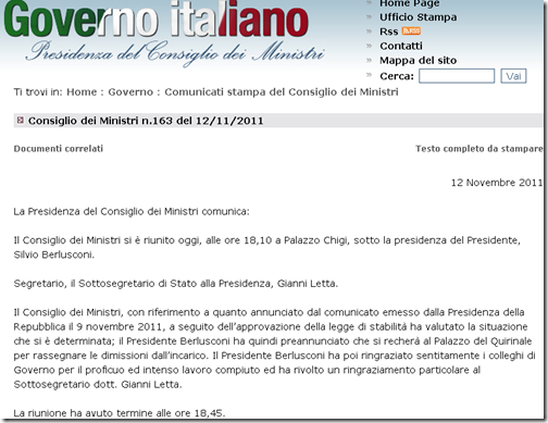 Comunicato ufficiale delle dimissioni di Silvio Berlusconi