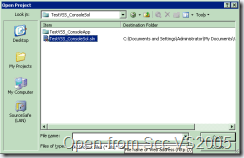 Open Project from SourceSafe in VS 2005