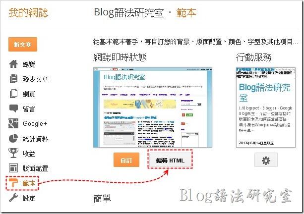 進到Blogger後台,點選左側邊欄的【範本】,然後點擊【編輯HTML】,這時後會出現程式碼,如果呈現空白,就在執行一次。