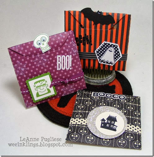 LeAnne Pugliese WeeInklings Paper Players 166 Candy Holder Trio Spooky Bingo Bits