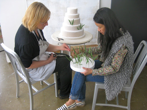 Wendy and Katie dressed up the cake with the snowdrops.
