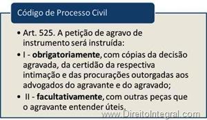 Peças obrigatórias, facultativas úteis e necessárias. Artigo 525, incisos I e II do código de processo civil de 1973.