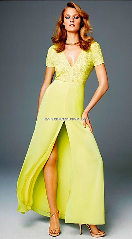 H&M SPRING 2012 CONSCIOUS COLLECTION EXCLUSIVE GLAMOUR lemon yellow maxi gown KRISTIN DAVIS Michelle Williams recycled chiffon