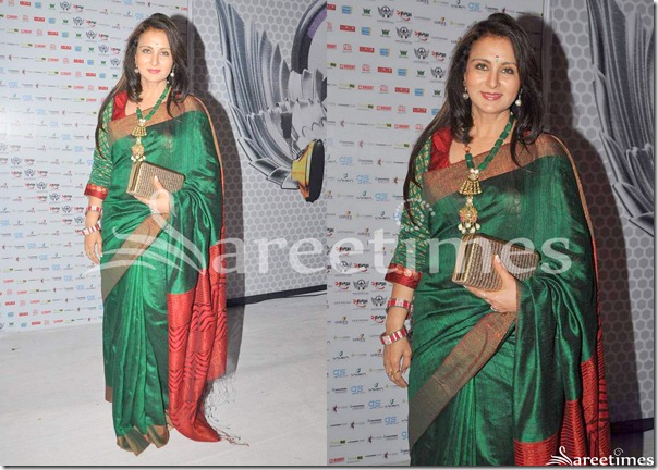 Poonam_Dhillon_Green_Saree