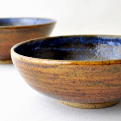 Denim and Leather serving bowls by glazedOver Pottery 3