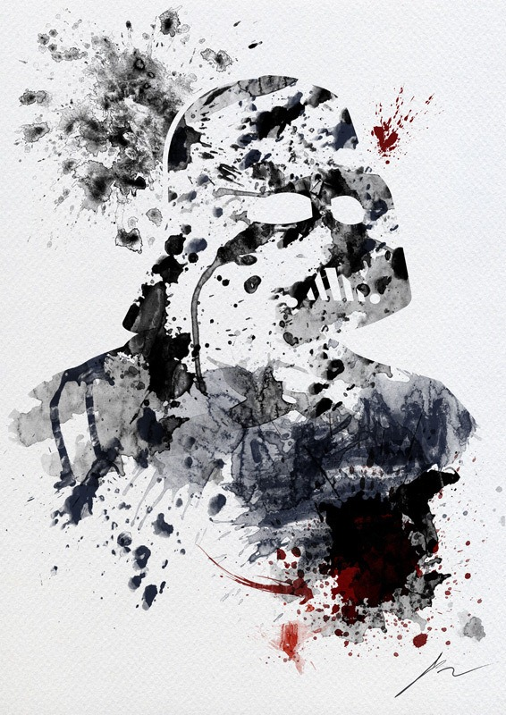 Arian Noveir - Star Wars Splatterart-Darth Vader via Nerd Approved