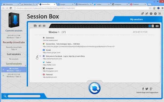 إضافة مزامنة وحفظ نوافذ التصفح لمتصفح جوجل كروم وفايرفوكس Session box