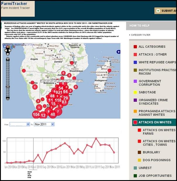 ANTI WHITE ATTACKS SOUTH AFRICA URBAN AND RURAL COMNBINED NOV 2010 TO NOV 2011 FARMITRACKER
