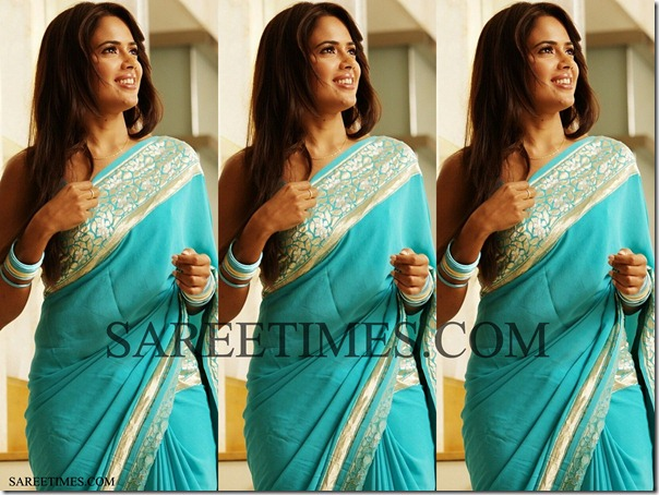Sameera_Reddy_Blue_Saree