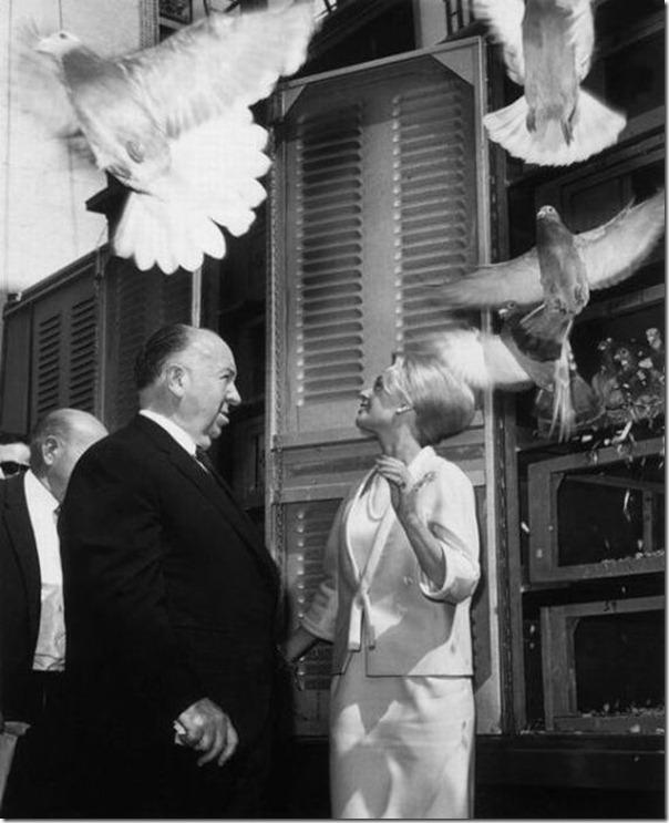 Os Pássaros - Alfred Hitchcock e Tippi Hedren no set