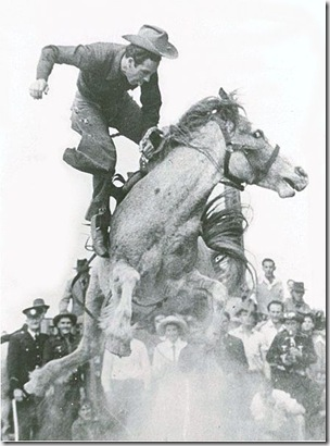 1953. Alan Wood on the great bucking mare, Curio