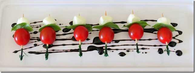 Caprese on a Stick for Jessica's bridal shower 10-1-12