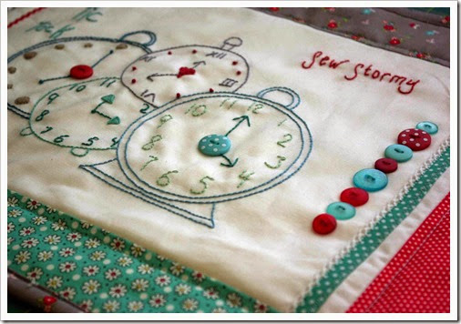 Finished tic tock embroidery