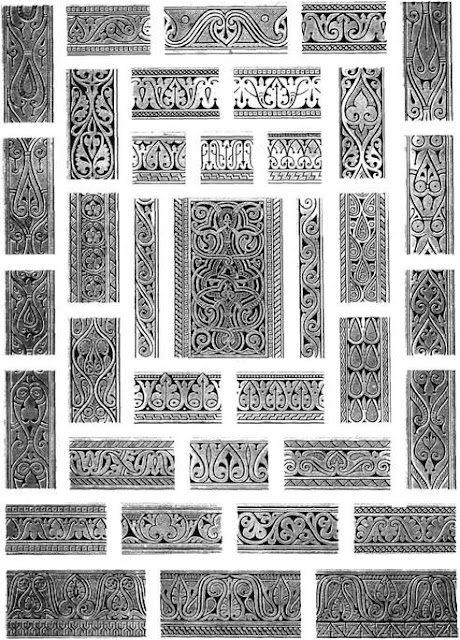Mosque of Ahmad ibn Tulun, ornamental details, 9th century. Three distinct patterns taken from Samarra are combined and mixed, providing schemes of ornament that frame arches and decorate soffits. Central are pointed leaves, some of which blossom into a trefoil, and short thick undulated stems which converge at the top.