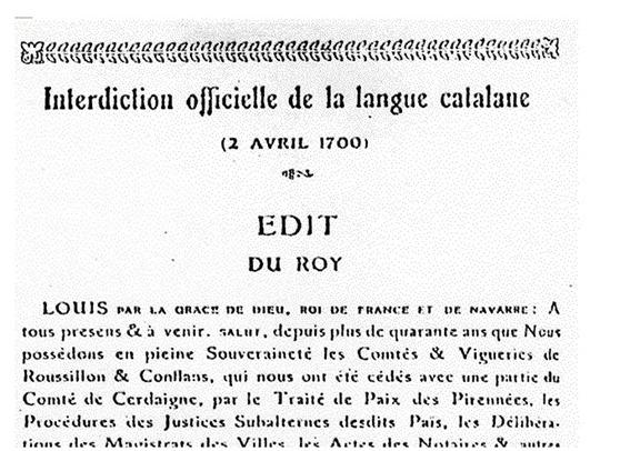 Interdiccion de la lenga 1700 pel catalan