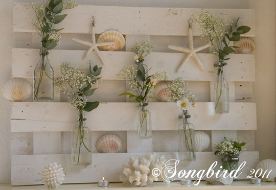 White Summer Mantel with Shells 2