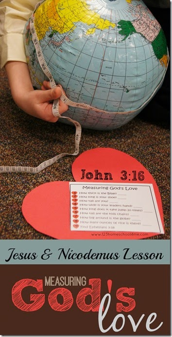 Measuring God's Love - A hands on sunday school lesson on Jesus & Nicodemus that includes crafts and kids activities talking about how to measure God's love from John 3:16