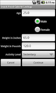 Snack Food Calorie Lookup - screenshot