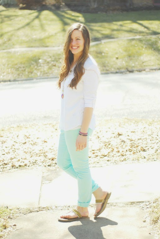 white blouse, mint jeans