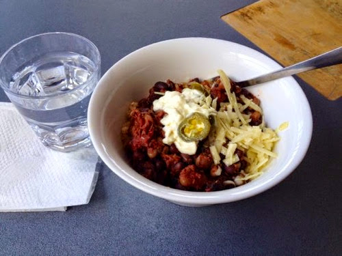 Three bean chili, rice and accoutrements