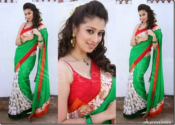 Lakshmi_Rai_Green_White_Half_and_Half_Saree