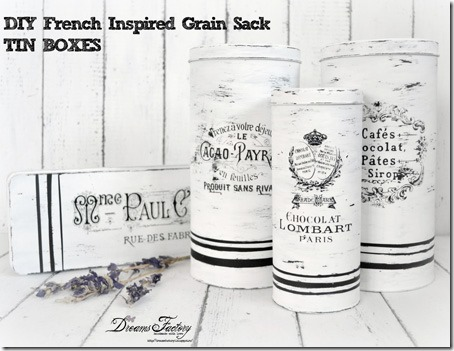 French Grain Sack Tin Boxes