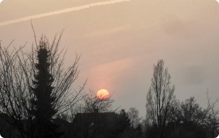Solen på vej ned - mens jeg kørte hjem.