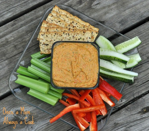 Roasted Red Pepper, Tomatillo and Cilantro Hummus 2