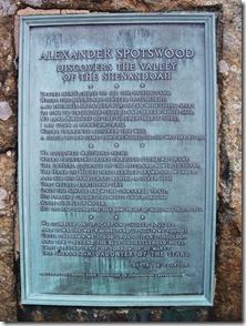 Alexander Spotswood Discovers the Valley of the Shenandoah text plaque