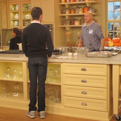 The TV studio has various sets that can be used for cooking, gardening, and interior home shoots, plus lots of the furniture moves around during production. Here I've swung into the kitchen to discuss plans for my Halloween dinner party with Chef Pierre, who was also there for the Book Launch episode.