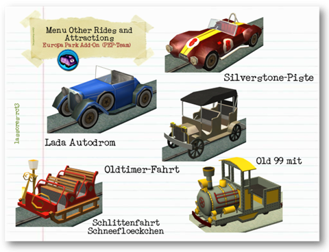 Menu Other Rides and Attractions Cars I (PEP-Team) lassoares-rct3