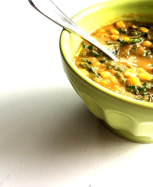 sweet potato, corn, + kale chowder
