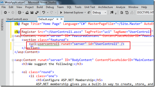 extract to user control visual studio 11 aspx page