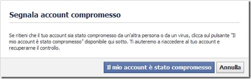 Facebook Segnala account compromesso