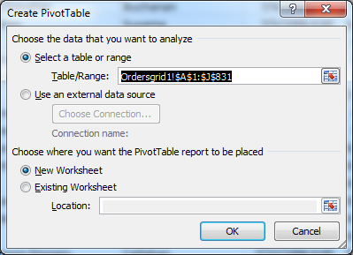 'Create PivotTable' dialog in Microsoft Excel