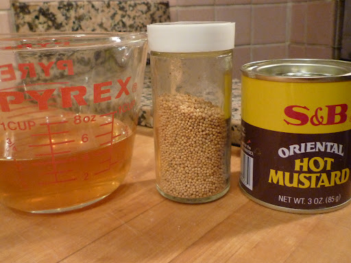 Cider vinegar, yellow mustard seeds, and mustard powder-ready to join forces!