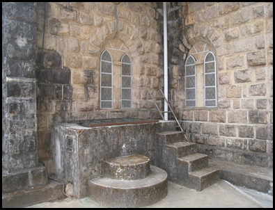 Ingenious Outdoor Full Immersion Font Attached to the Outside narthex Wall