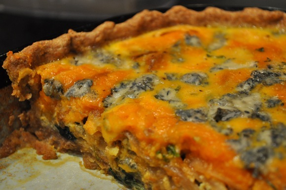 sliced pumpkin gorgonzola tart