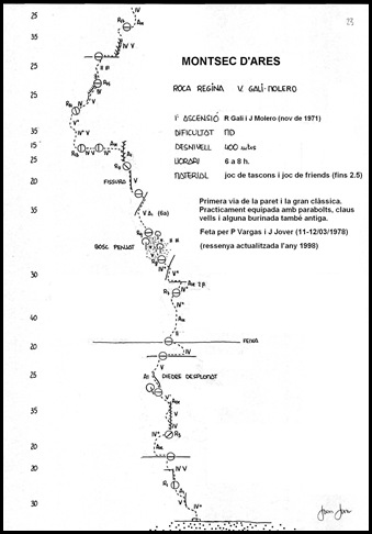 Croquis Terradets - Roca Regina - Gali-Molero 500m MD  6b  Ae (V  A0 Oblig) (Joan Jover)