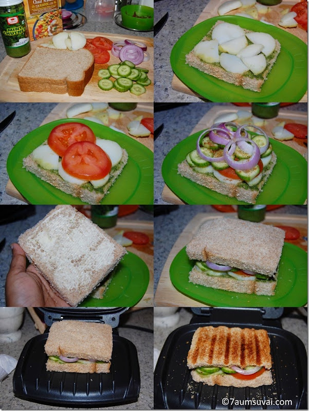 Grilled bombay sandwich process