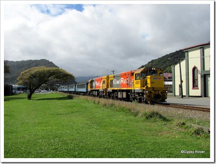 The Trans Alpine express moving off Greymouth station to turn the train.